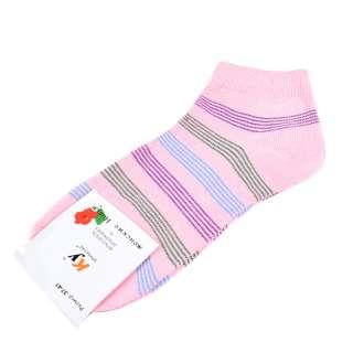 Носки розовые светлые в зелено-голубую полоску (1пара) оптом