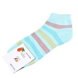 Носки голубые светлые в красно-желтую полоску (1пара) оптом