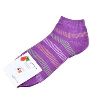 Носки фиолетовые в бело-салатовую полоску (1пара) оптом