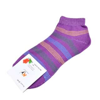 Носки фиолетовые в зелено-голубую полоску (1пара) оптом