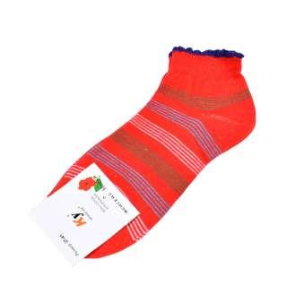 Носки красные в зелено-голубую полоску (1пара) оптом