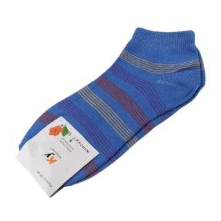 Носки голубые темные в красно-желтую полоску (1пара) оптом