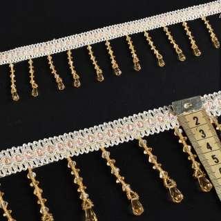 бахрома бежево-золот с прозрачн. пласт. подвесками и бисером оптом