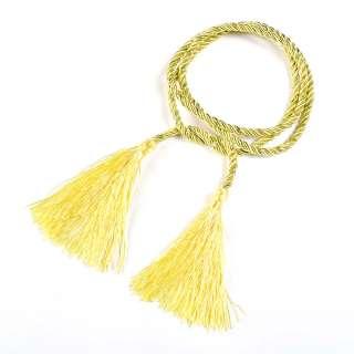 Шнур с кистями желтый с метанитью, 125 см, кисти по 10см оптом