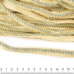Кант-шнур оливковый/шампань, диаметр 0,9см, тесьма 1,5см оптом