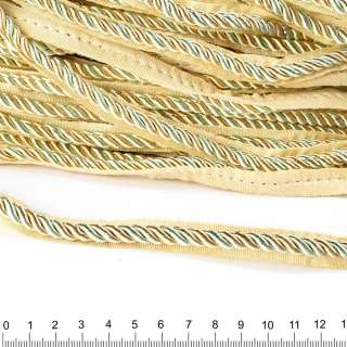 Кант-шнур оливковий / шампань, діаметр 0,9см, тасьма 1,5 см оптом