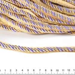 Кант-шнур сиреневый/шампань, диаметр 0,9см, тесьма 1,5см оптом
