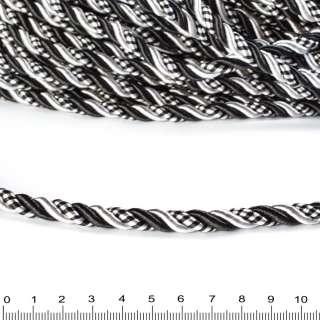 Шнур кручений чорний / білий, діаметр 0,9см оптом