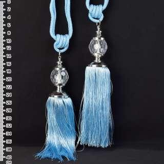 Китиця (пара) блакитна, довжина 65см, китиця 20см, куля 5см оптом