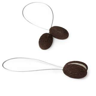 Подхват магнитный для штор овал со шнуром коричневый оптом