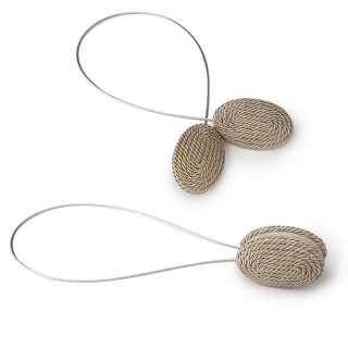 Подхват магнитный для штор овал со шнуром бежево-серебристый оптом