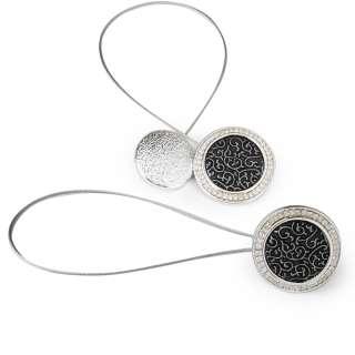 Подхват магнитный для штор круг черный серебро оптом