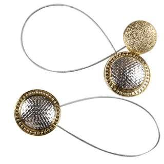 Підхват магнітний для штор коло плетінка срібло з золотом оптом